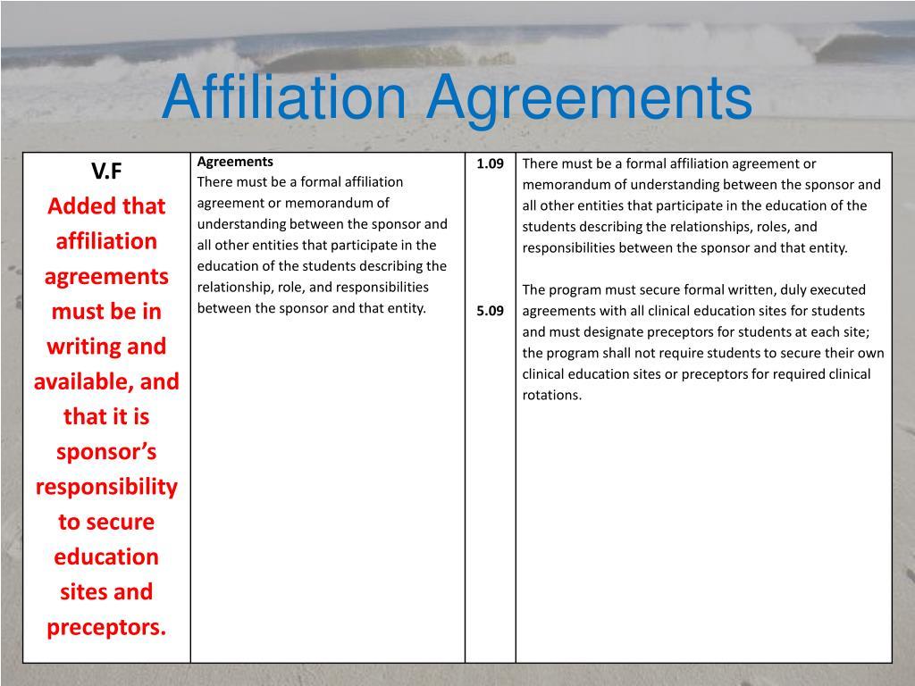 Affiliation Agreements