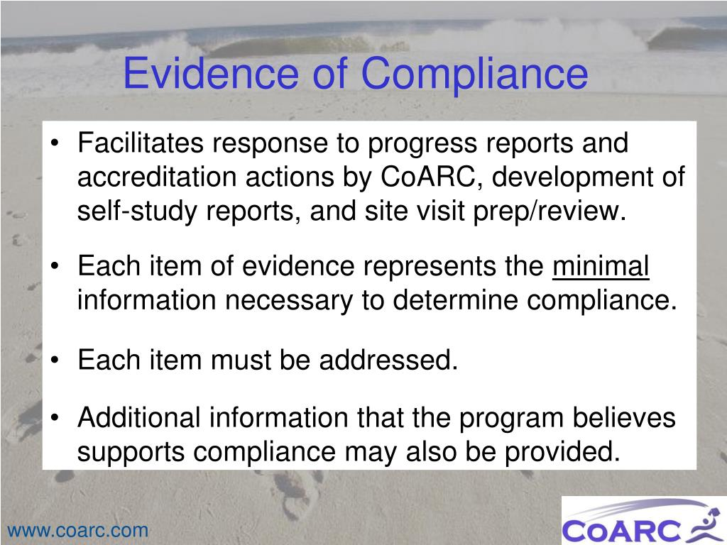 Evidence of Compliance