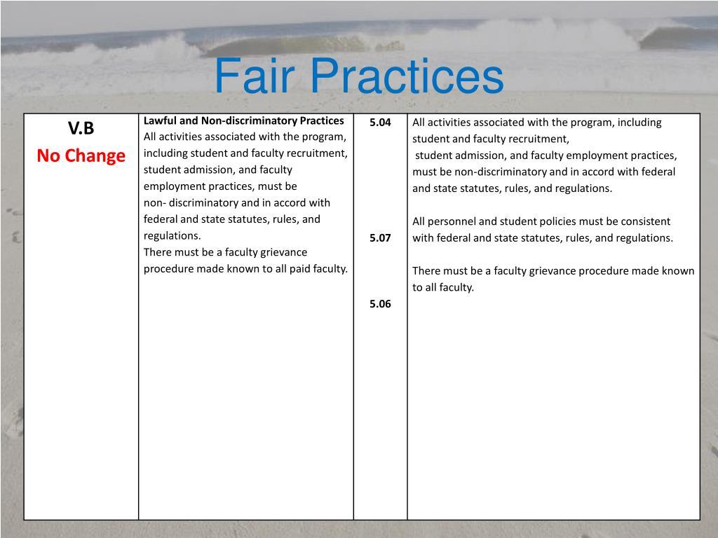 Fair Practices