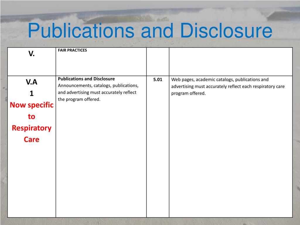 Publications and Disclosure