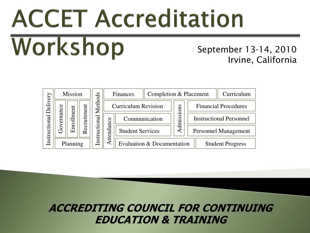 accet accreditation workshop l.