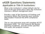 easer questions statements applicable to title iv institutions91