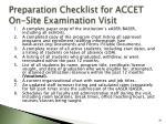 preparation checklist for accet on site examination visit