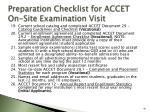preparation checklist for accet on site examination visit40