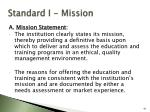 standard i mission
