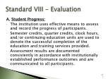standard viii evaluation