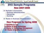 svu sample programs new 2007 2008