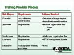 training provider process