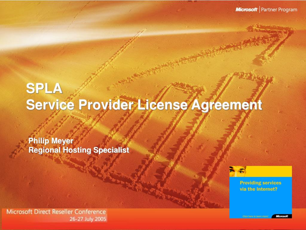 spla service provider license agreement l.