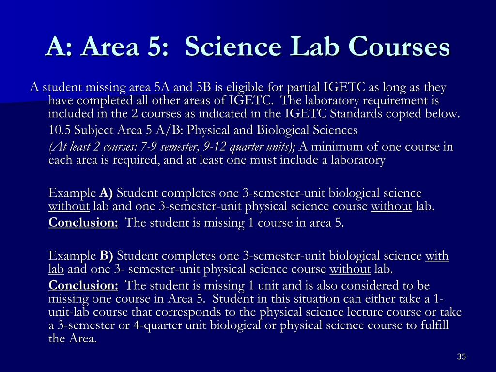 A: Area 5:  Science Lab Courses