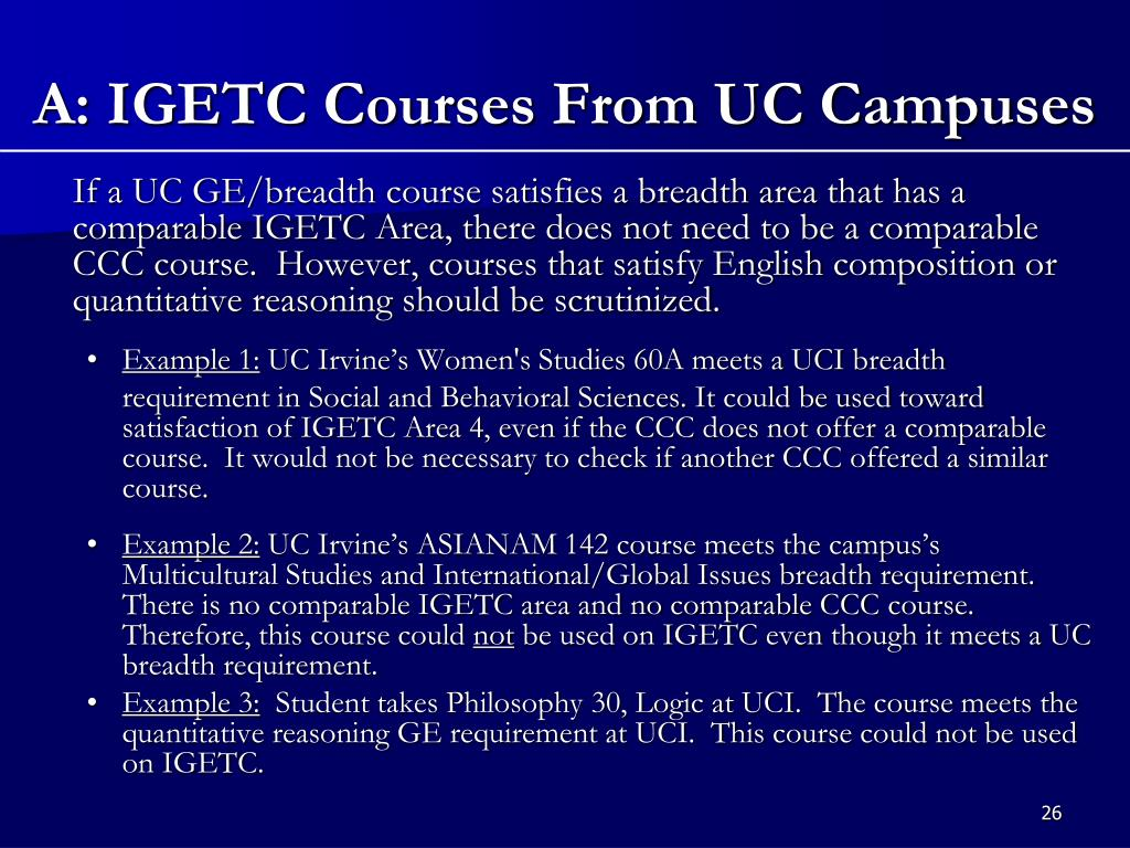 A: IGETC Courses From UC Campuses