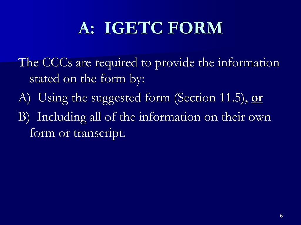 A:  IGETC FORM