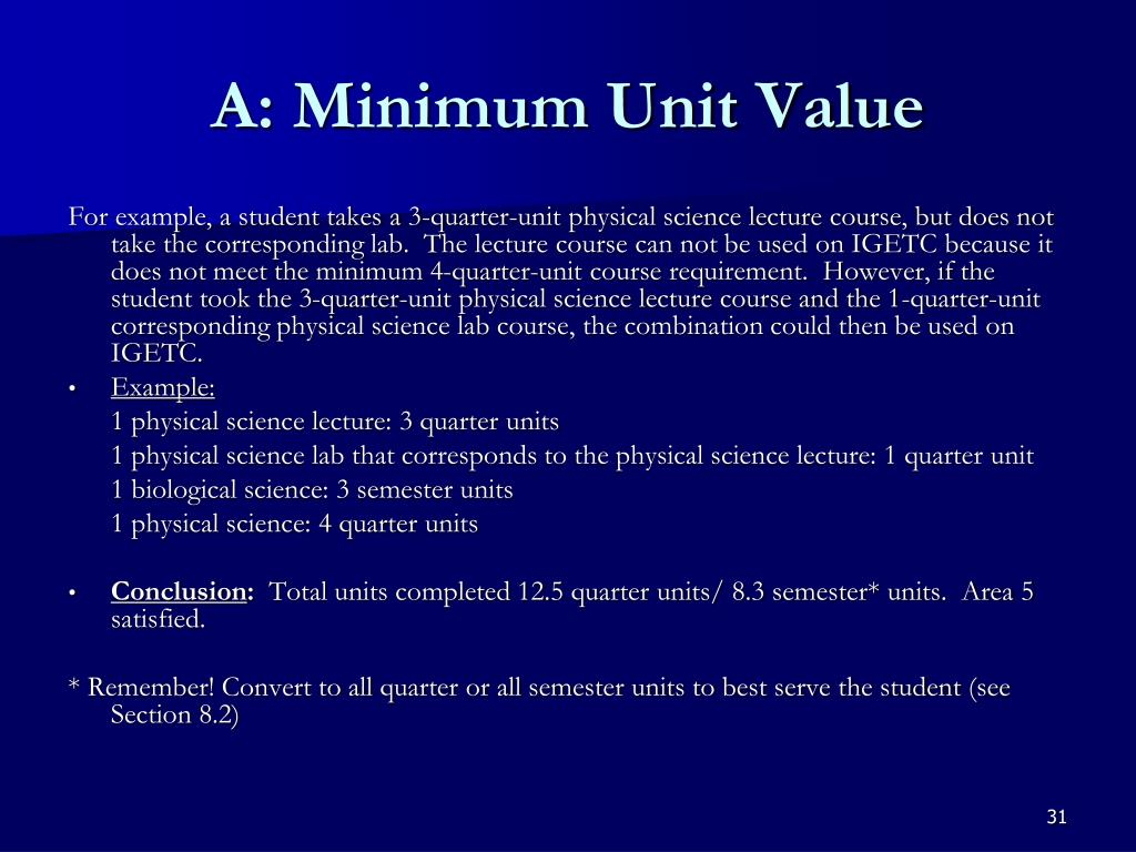 A: Minimum Unit Value