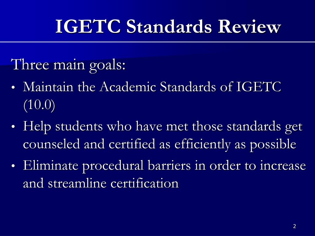 IGETC Standards Review