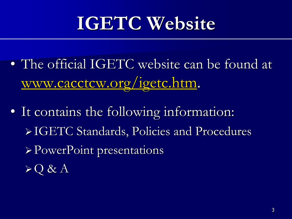 The official IGETC website can be found at