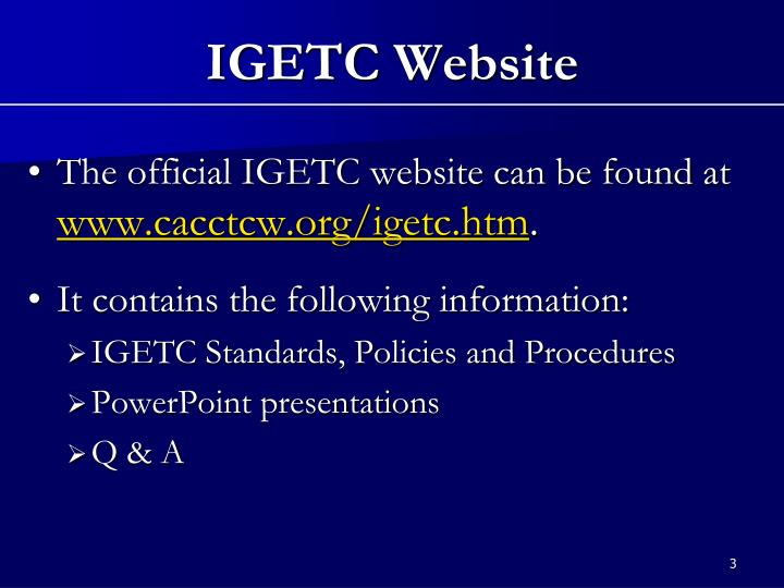 Igetc website
