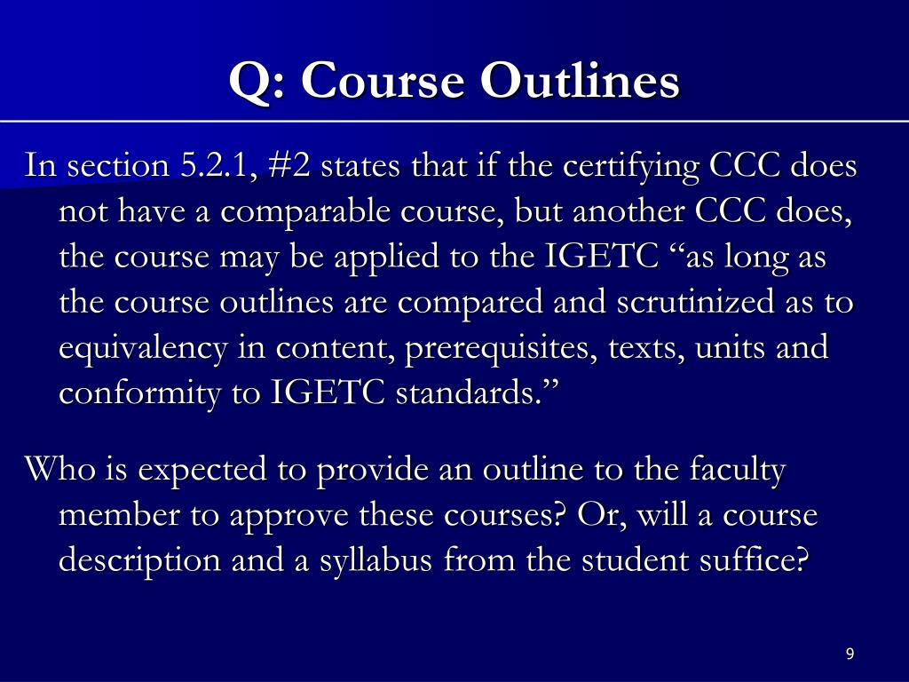 Q: Course Outlines