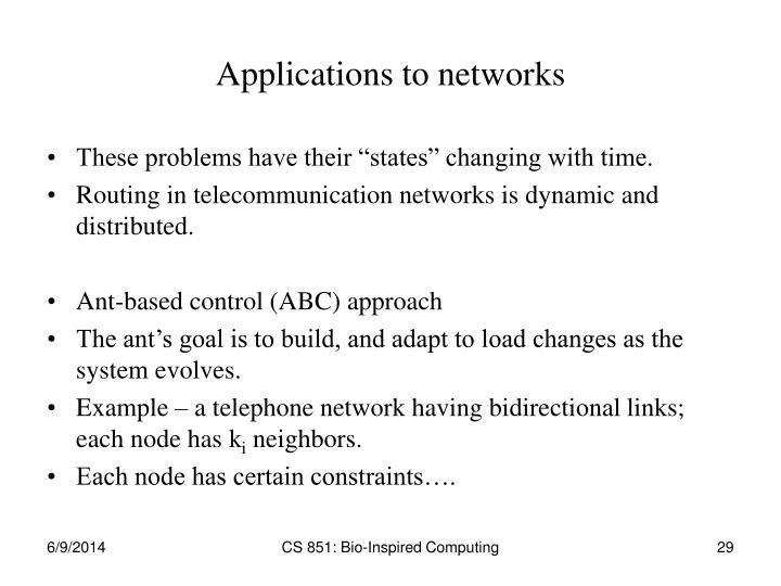 Applications to networks