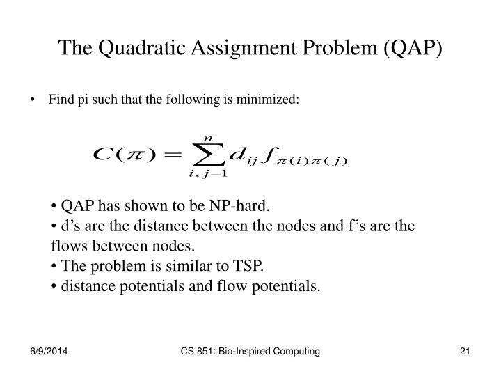 The Quadratic Assignment Problem (QAP)