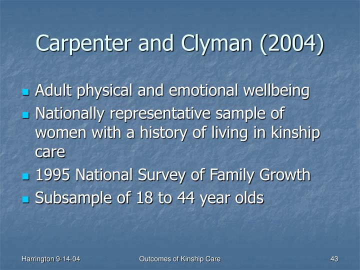 Carpenter and Clyman (2004)