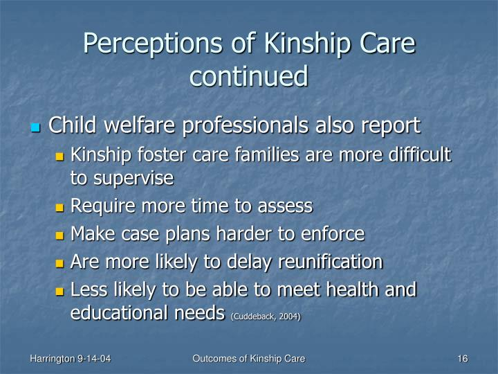 Perceptions of Kinship Care continued