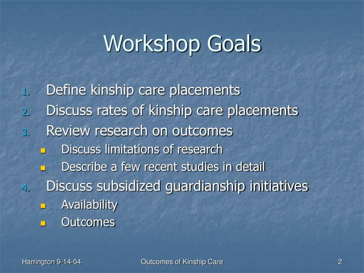 Workshop goals