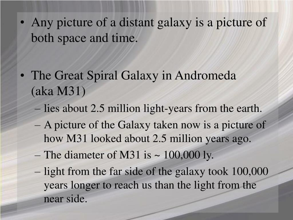 Any picture of a distant galaxy is a picture of both space and time.