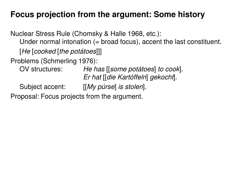 Focus projection from the argument: Some history