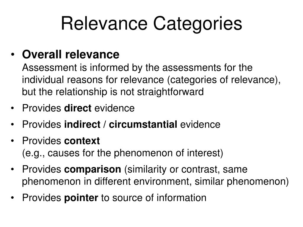 Relevance Categories