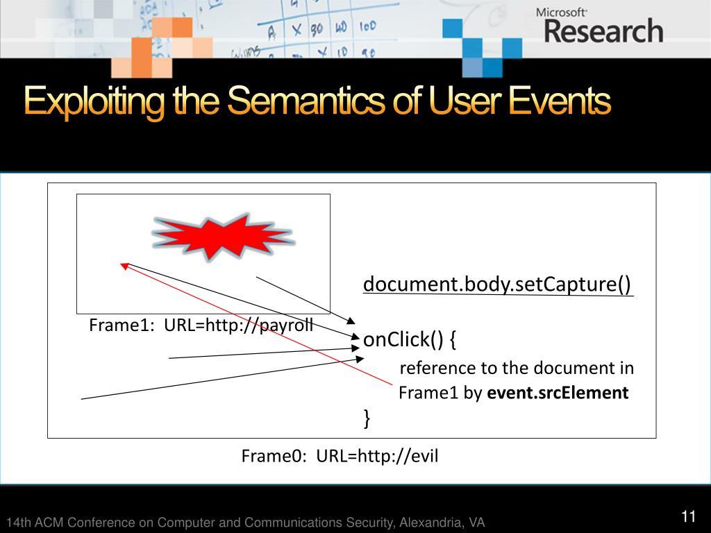 Exploiting the Semantics of User Events