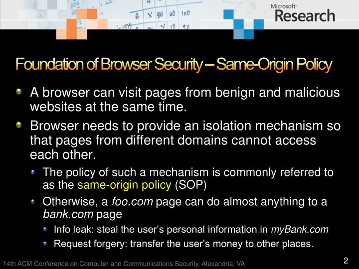 Foundation of browser security same origin policy