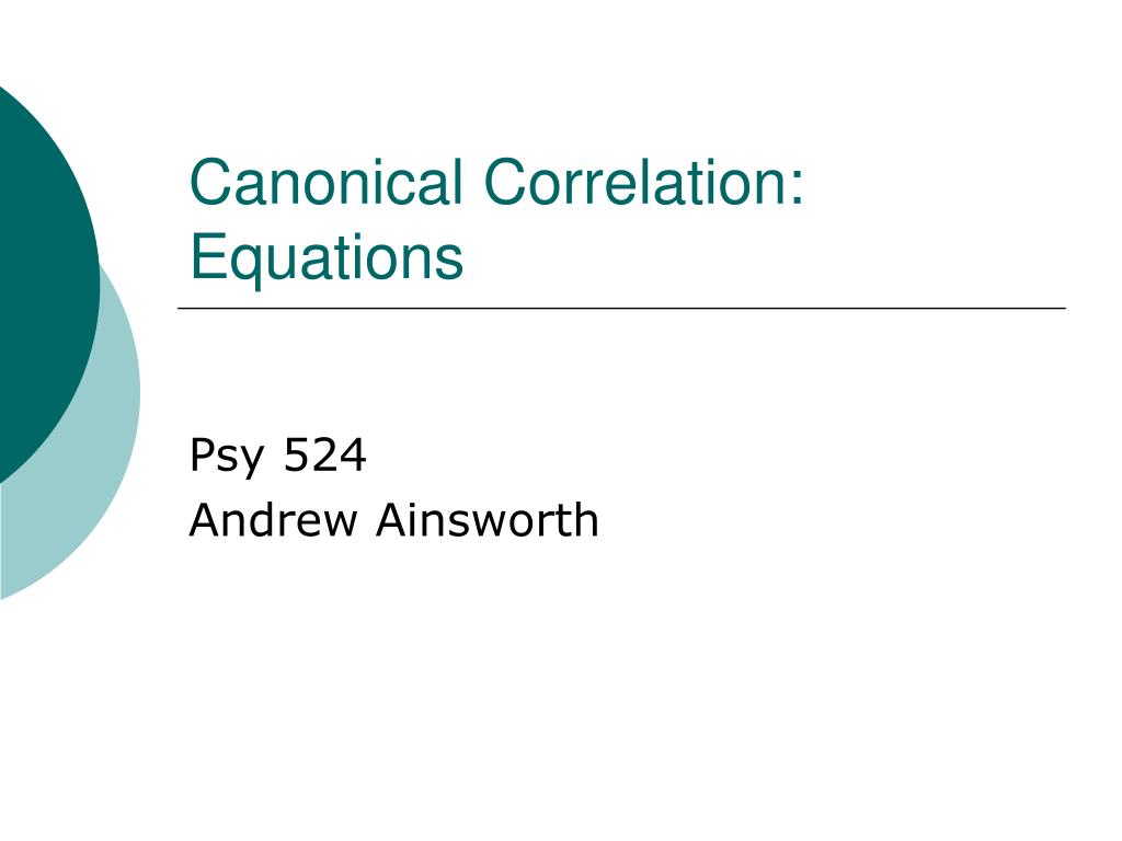 canonical correlation equations l.