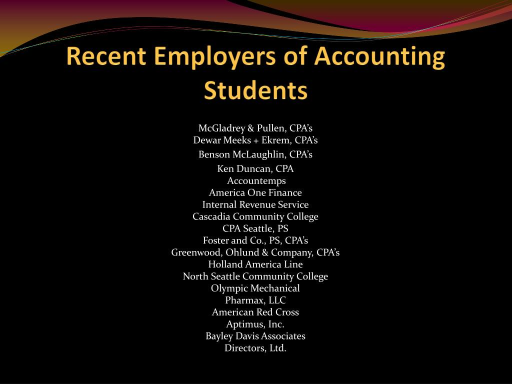 Recent Employers of Accounting Students