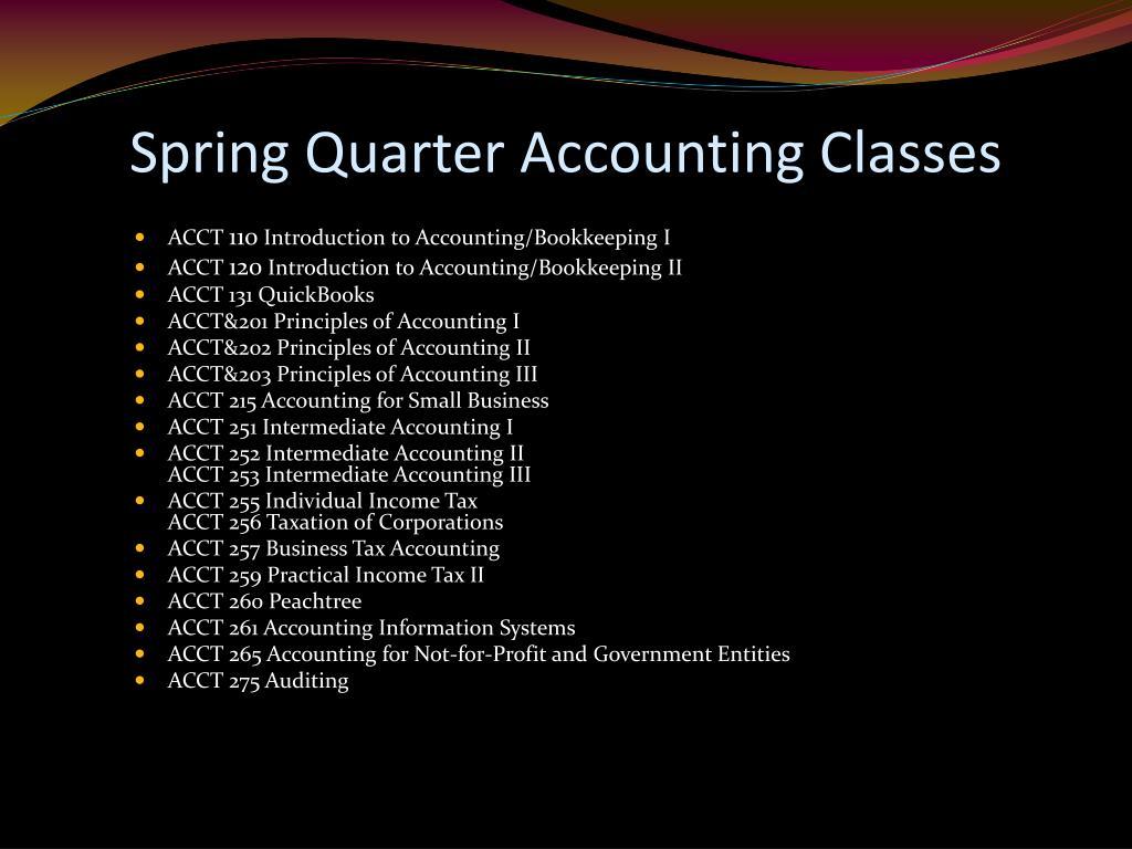 Spring Quarter Accounting Classes