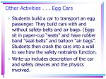 other activities egg cars