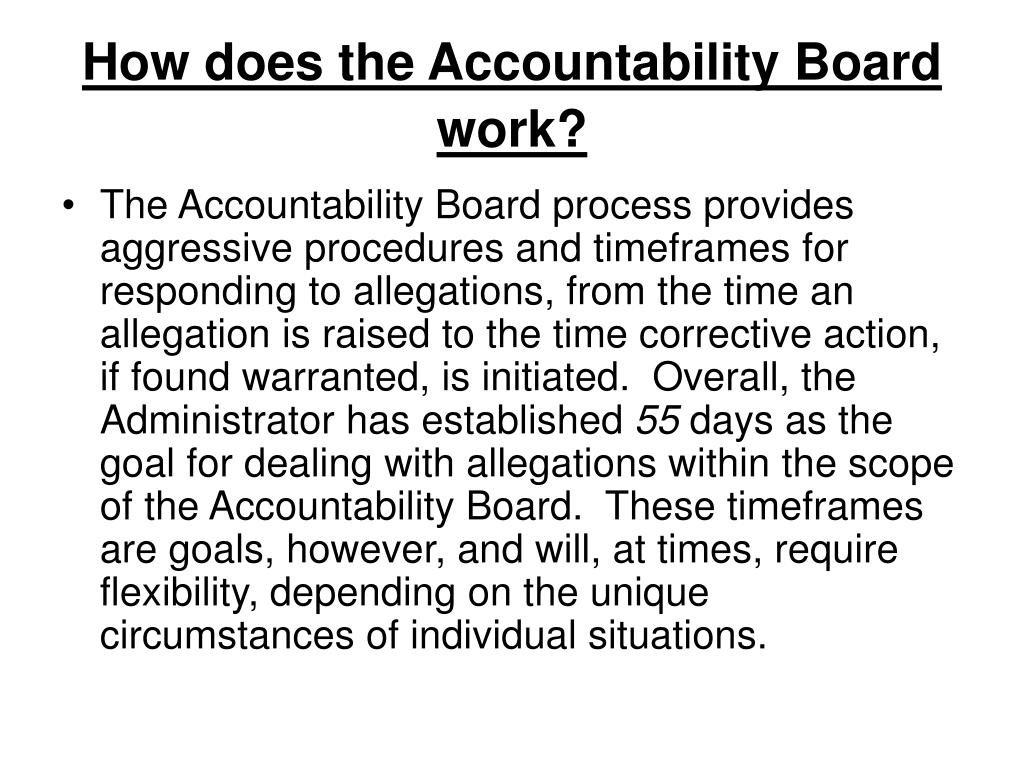 How does the Accountability Board work?