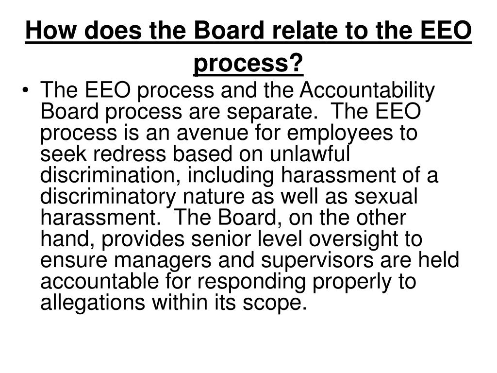 How does the Board relate to the EEO process?