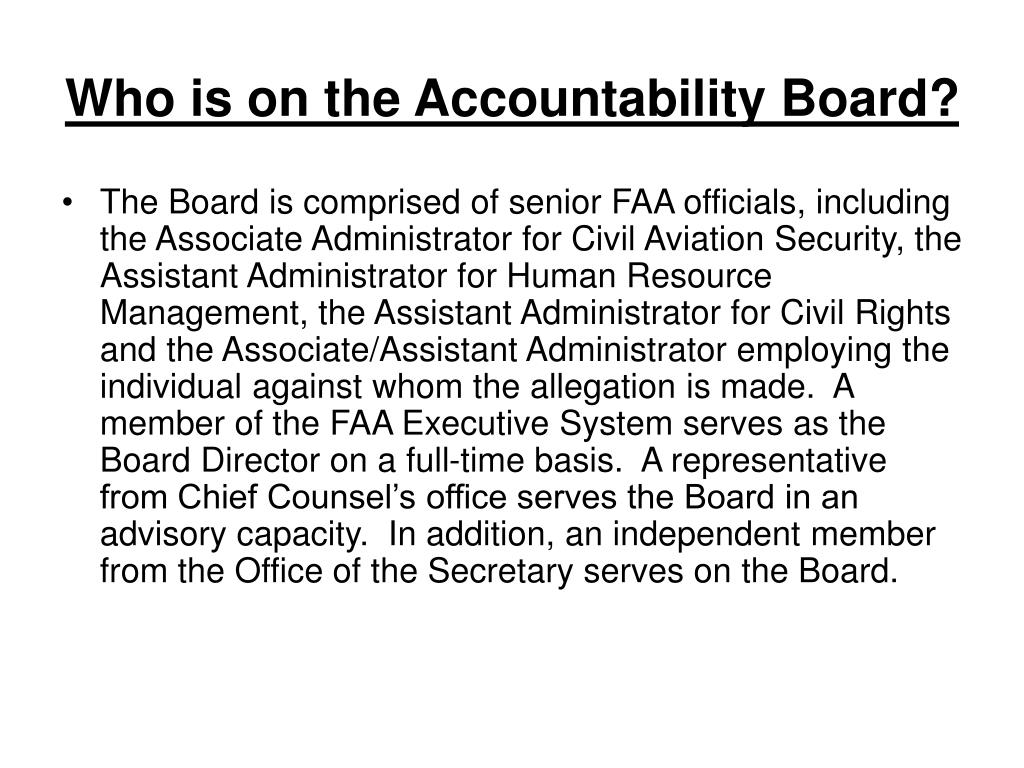 Who is on the Accountability Board?