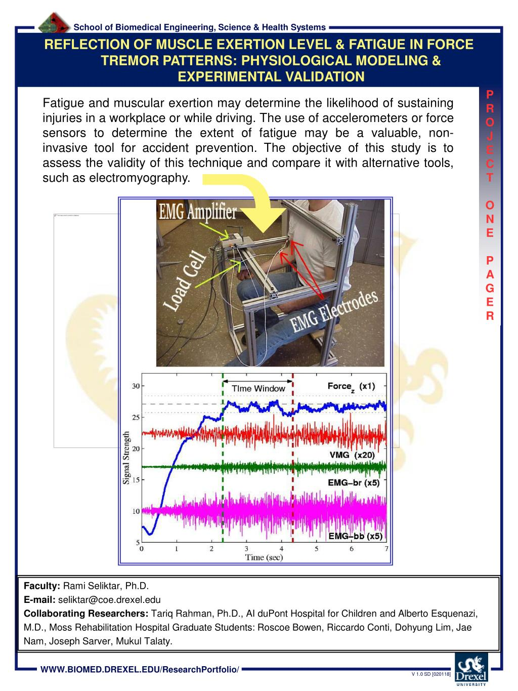 REFLECTION OF MUSCLE EXERTION LEVEL & FATIGUE IN FORCE TREMOR PATTERNS: PHYSIOLOGICAL MODELING & EXPERIMENTAL VALIDATION