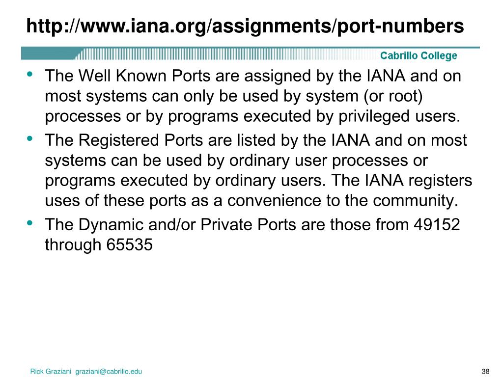 http://www.iana.org/assignments/port-numbers
