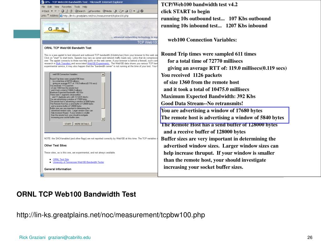 TCP/Web100 bandwidth test v4.2