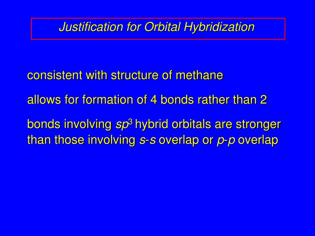 Justification for Orbital Hybridization