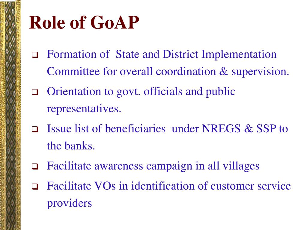 Role of GoAP