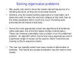 solving eigenvalue problems