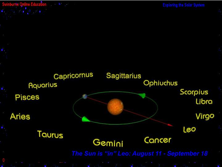 """The Sun is """"in"""" Leo: August 11 - September 18"""