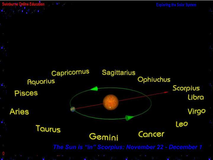 "The Sun is ""in"" Scorpius: November 22 - December 1"