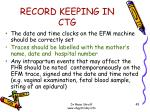 record keeping in ctg