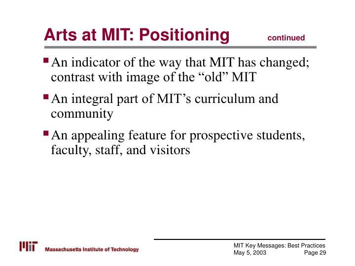 Arts at MIT: Positioning