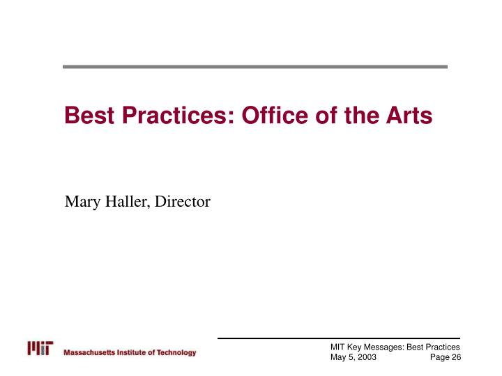 Best Practices: Office of the Arts