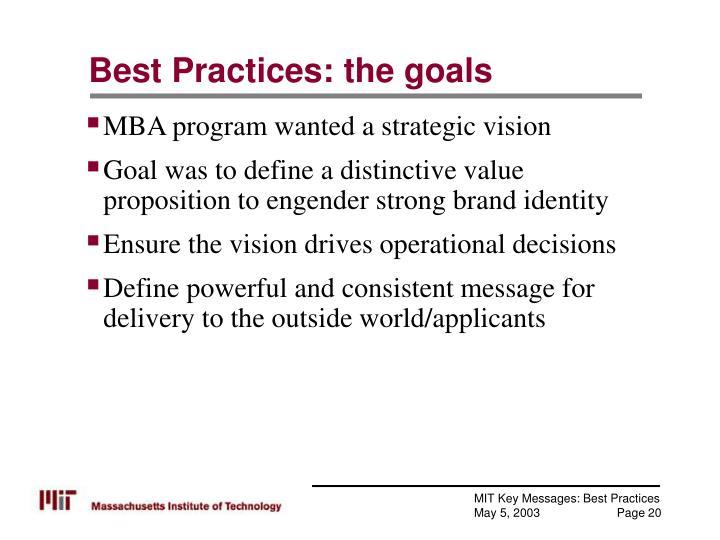 Best Practices: the goals